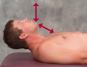Figure 4: Head raise test. The supine client raises his head from the table while the therapist closely observes the direction of chin movement. The optimal firing order pattern during the head flexion test is longs captious, longus colli, anterior scalene and SCMs.