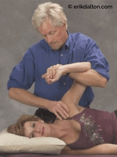 "Fig. 7: To coactivate frozen shoulder articular receptors and rotator cuff cutaneous receptors, the therapist puts the client in an armlock and brings humerous to the abduction/external rotation barrier. The client inhales and gently pushes the arm toward the hip to a count of five as therapist's ""webbed"" hand resists. Upon exhalation, the therapist increases abduction/external rotation to new pain-free barrier."