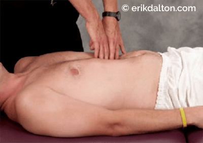 Figure 8: Diaphragm, obliques, and transabdominal column release. The therapist's extended fingers hook the respiratory diaphragm, obliques, and transabdominal fascia by slowing sinking on exhalation and resisting on inhalation.