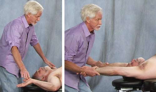 Image 4. In the left image, the therapist's forearms pin the pec fascia as the client internally and exteriorly rotates his arms. On the right, the therapist applies a full-body front-line stretch as the client performs slow pelvic tilts.