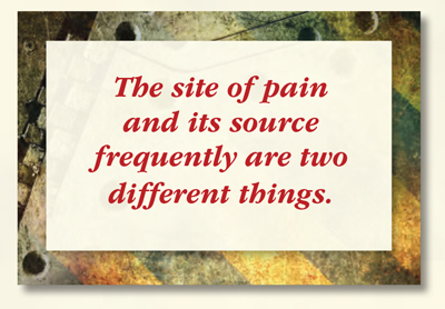 The site of pain and its source frequently are two different things.