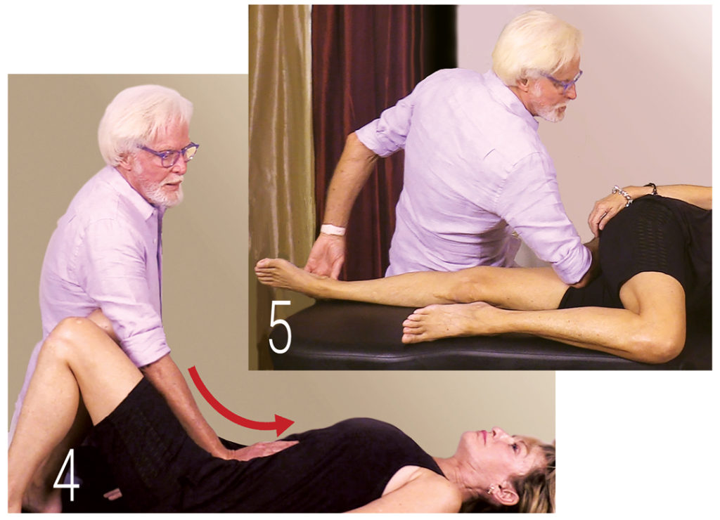 In Images 4 and 5, I demonstrate a couple of my favorite myoskeletal techniques for relieving these uncomfortable sensations caused by abdominal and pelvic floor rigidity. The goal of all belly bloat techniques is to help establish a balanced functional relationship between the pelvic and respiratory diaphragms by way of the brain-gut axis.