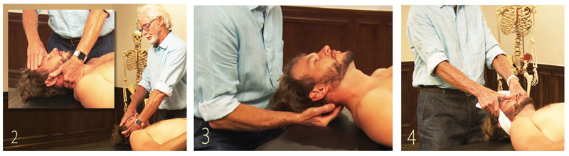 2. Therapist's right hand secures client's forehead while his left drapes along client's neck. A gentle oscillatory counterforce between therapist's hands stimulates neuromuscular reflexes in upper cervical complex. 3. Therapist's fingers meet along the occipital ridge and begin a gentle oscillating motion to stimulate parasympathetic nervous system tone via the vagus nerve. 4. To help calm the client's fear center (amygdala), therapist drapes client's neck at the occipital ridge with thumbs bracing on the forehead, client is asked to slowly elevate and relax his shoulders while therapist gently resists. Verbal suggestions of safety and support may enhance the therapeutic outcome.