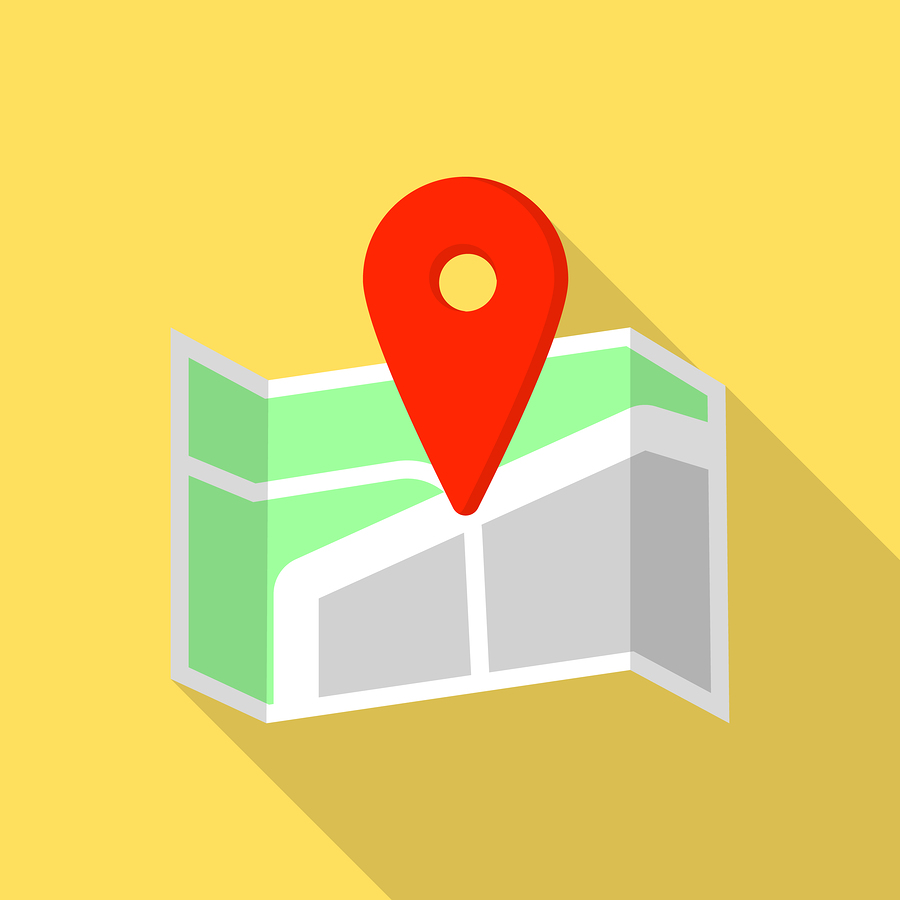 Cross road pin map icon. Flat illustration of cross road pin map icon for web design