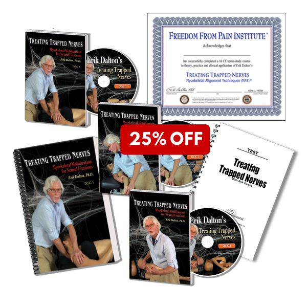 25%Off Treating Trapped Nerves home study course materials. Includes: DVD, manual, certificate